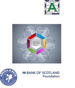 Logo of Logo of Argyll & Bute ADP, logo for Bank of Scotland Foundation. Logo for RAP with connections
